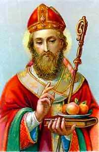 St. Nicholas, with his  and , as he appears on a   .