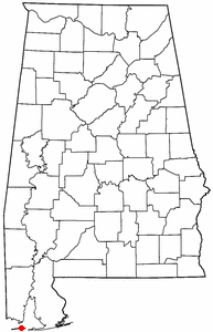 Location of Dauphin Island, Alabama