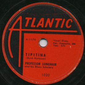 Label of Atlantic Records 78 by Professor Longhair