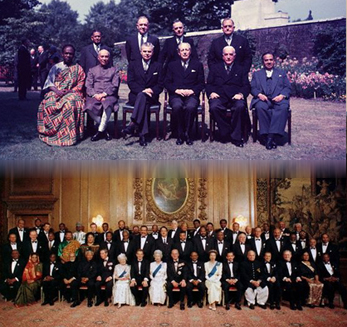 The Commonwealth has grown massively in the last few decades. Above, the 10 representatives in 1956, below, the over 50 members in 2000