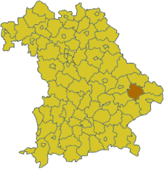 Map of Bavaria highlighting the district Deggendorf