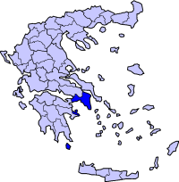 Map of Greece highlighting the prefecture