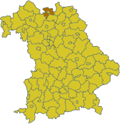 Map of Bavaria highlighting the district Coburg