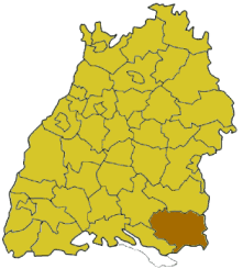 Map of Baden-Württemberg highlighting the district Ravensburg
