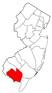 Map of New Jersey highlighting Cumberland County