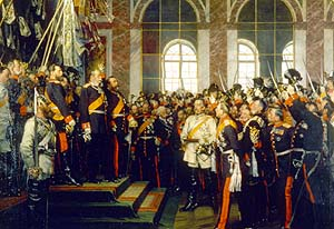 On January 18th 1871, the German Empire is proclaimed in the Hall of Mirrors of the Palace of Versailles. Bismarck appears in white.