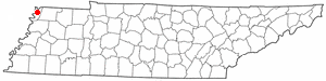 Location of Tiptonville, Tennessee