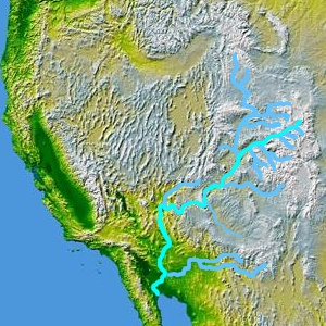 The Colorado River and major tributaries are shown on a map of the western United States and northern Mexico