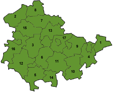 Map of Thuringia showing the boundaries of the districts