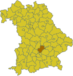 Map of Bavaria highlighting the district Freising