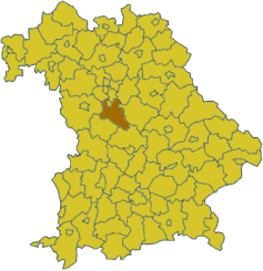 Map of Bavaria highlighting the district Roth