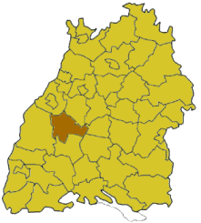 Map of Baden-Württemberg highlighting the district Freudenstadt