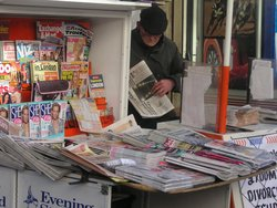 Newspaper vendor, , , February 2005