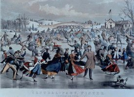 Central-Park, Winter: The Skating Pond, Published by Currier & Ives, 1862: Bow Bridge is in the background