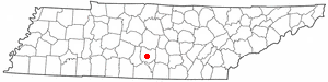 Location of Shelbyville, Tennessee