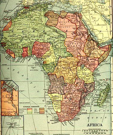 Map of Africa just before World War I (larger image (456 kB))