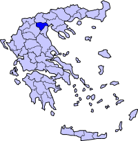 Map showing the Imathia prefecture within Greece