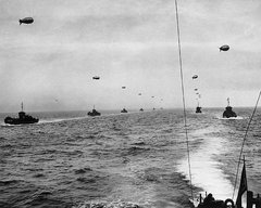 Large landing craft convoy crosses the English Channel on , .
