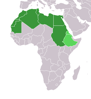 Map of Africa with the northern countries highlighted