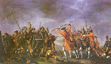 "'s painting """" shows the highlanders still wearing the  which they normally set aside before battle, where they would fire a volley then run full tilt at the enemy with broadsword and targe in the Highland charge wearing only their shirts"