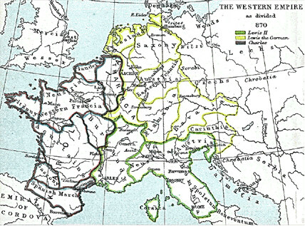 Charlemagne's kingdom survived its founder and covered much of Western Europe from  until  when a treaty split it amongst his grandsons:  Central Franks ruled by  (green), East Franks ruled by  (yellow), and  led West Franks (purple).