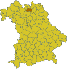 Map of Bavaria highlighting the district Lichtenfels