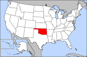 Map of the U.S. with Oklahoma highlighted
