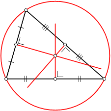 The  is the centre of a circle passing through the three vertices of the triangle.