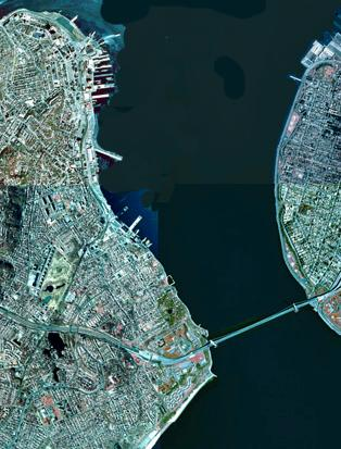 Close up of The Narrows, as seen by satellite. Staten Island is on the left, and Brooklyn is on the right, connected by the Verrazano Narrows Bridge (Public Domain photograph from NYSGIS)