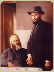 Sixth  of Chabad Lubavitch  (1880-1950) left, with his son-in-law and successor  (1902-1994), right, the last Lubavitcher Rebbe.