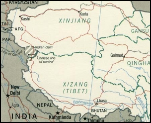 Map of the Tibet Autonomous Region