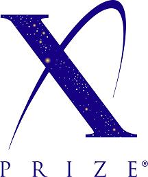 The X prize logo shows a stylised letter X representing a spacecraft trajectory and containing a starfield.