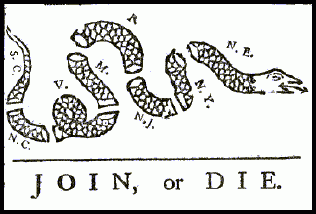This political cartoon by Franklin urged the colonies to join together during the  ().