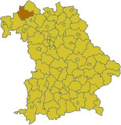 Map of Bavaria highlighting the district Bad Kissingen