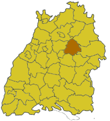 Map of Baden-W�rttemberg highlighting the district Rems-Murr-Kreis