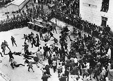 French Troops Clash With Algerian Civilians