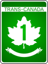 Example of Trans-Canada Highway marker shield.  The name of the province is printed in the ribbon below the number.