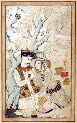 Shah Abbas I and a pageThe dedication reads May life grant all that you desire from three lips, those of your lover, the river, and the cup. Tempera and gilt; Muhammad Qasim, 1627; Louvre, Paris