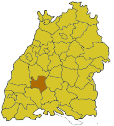Map of Baden-Württemberg highlighting the district Rottweil