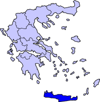Map showing Crete periphery in Greece