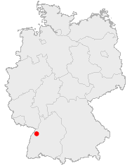 Map of Germany showing Baden-Baden