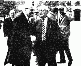 (front left), Theodor Adorno (front right), and  in the background, right, in  at