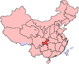 Chongqing is highlighted on this map