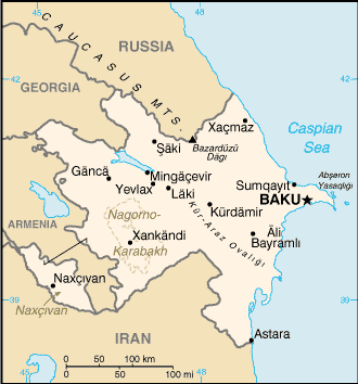 Map of Azerbaijan with cities