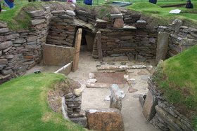 Excavated dwellings at Skara Brae