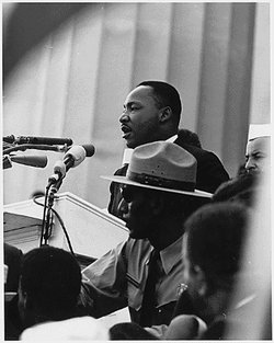 "American Civil-Rights-Movement-Leader  is perhaps most famous for his """" speech."