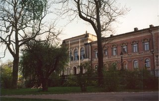 The neo-renaissance main University building in the University Park, Uppsala (completed in 1887).