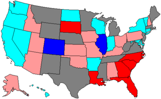 Results -- light red represents Republican holds, dark red Republican pickups, light blue Democratic holds, dark blue Democratic pickups.