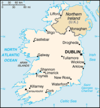 Political map of Ireland.