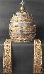 18th century Papal Tiara, the oldest surviving tiara in the papal collection.